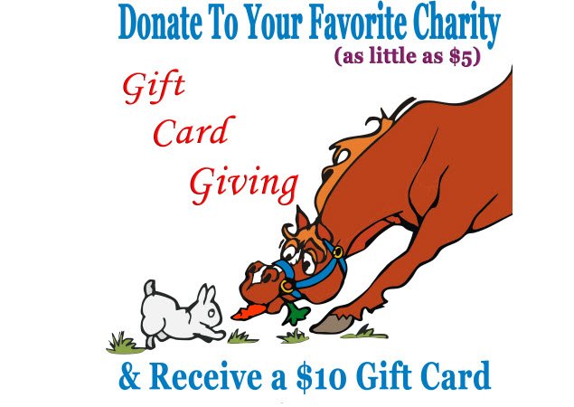 Gift card giving donate to your favorite charity