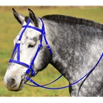 blue MEDIEVAL BAROQUE WAR or PARADE BRIDLE made from BETA BIOTHANE (Solid Colored)