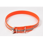 orange DOG COLLAR made from REFLECTIVE DAY GLO BIOTHANE