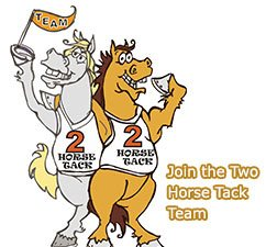 two cartoon horse saying to Join TwoHorseTack team