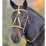 yellow(bright/canary)overlay MEDIEVAL BAROQUE WAR or PARADE BRIDLE made from BETA BIOTHANE (ANY 2 COLOR COMBO)