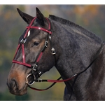 maroon(burgundy/wine)overlay MEDIEVAL BAROQUE WAR or PARADE BRIDLE made from BETA BIOTHANE (ANY 2 COLOR COMBO)