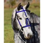 darkblue (royal/cobalt)overlay MEDIEVAL BAROQUE WAR or PARADE BRIDLE made from BETA BIOTHANE (ANY 2 COLOR COMBO)