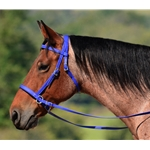 blue 2 in 1 BITLESS BRIDLE made from BETA BIOTHANE (Solid Colored)