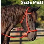 red 2 in 1 BITLESS BRIDLE made from BETA BIOTHANE (Solid Colored)