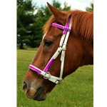 pink (hot/neon)overlay 2 in 1 BITLESS BRIDLE made from BETA BIOTHANE (Any 2 COLOR COMBO)