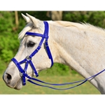 Sidepull And Reins (Horse Size) In Blue Beta Biothane **Discount Tack**