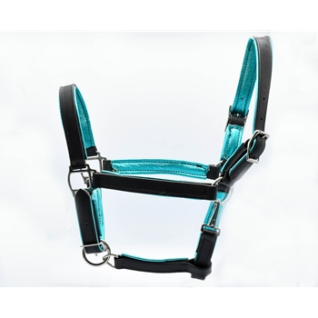 Padded Halter made from BETA BIOTHANE with Shiny Metallic Leather Padding